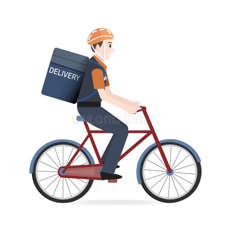 Équitation d'homme sur la bicyclette pour le messager Service de distribution illustration stock