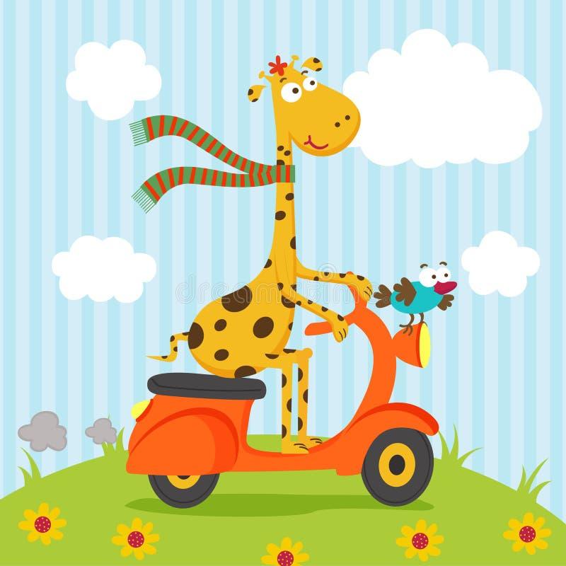 Équitation d'oiseau de girafe sur le scooter illustration de vecteur