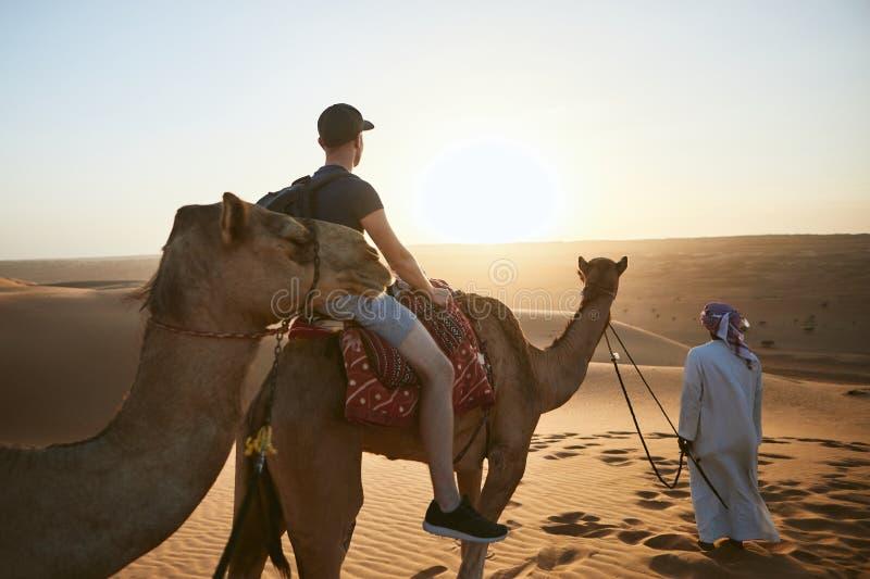Équitation de chameau dans le désert au coucher du soleil images libres de droits