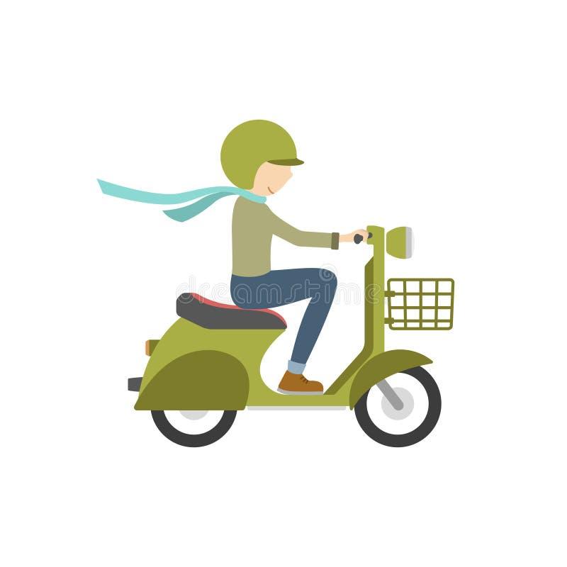 Équitation de garçon sur un scooter Illustration dans le style plat sur un blanc illustration de vecteur