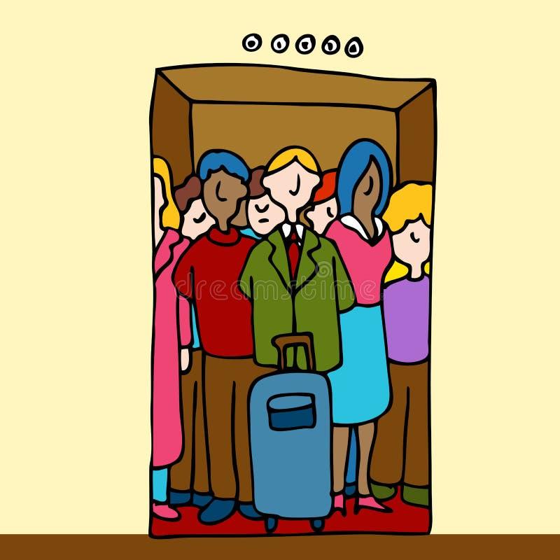 Équitation de gens dans l'ascenseur illustration de vecteur