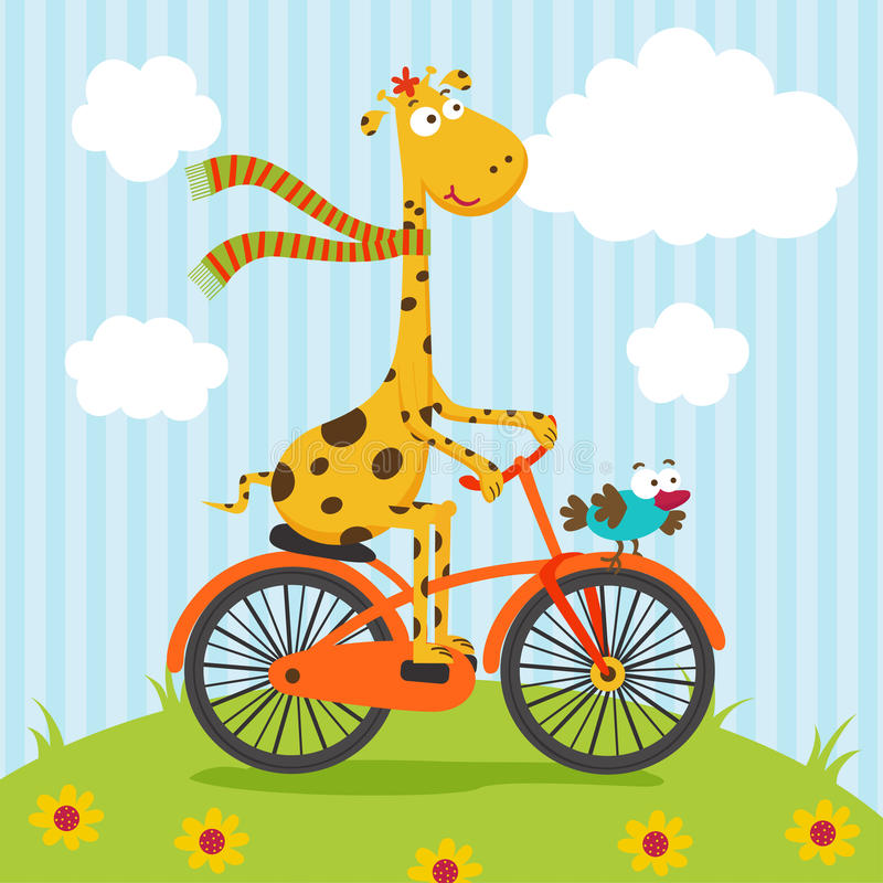 Équitation de girafe et d'oiseau sur la bicyclette illustration stock
