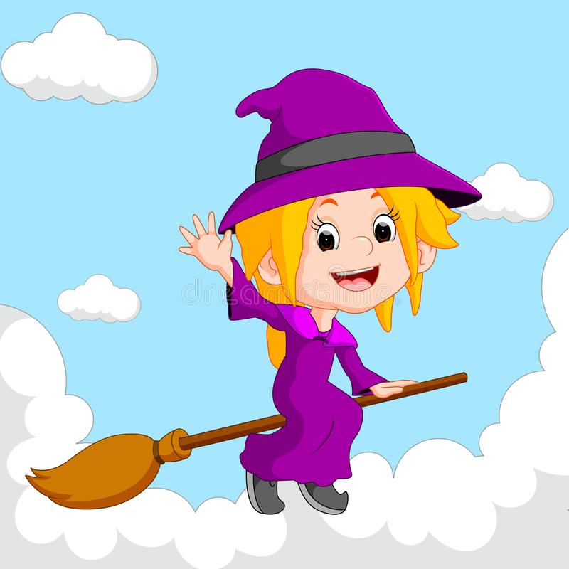 Équitation de sorcière sur un balai illustration stock
