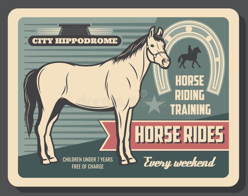 Équitation de sport équestre, hippodrome illustration stock