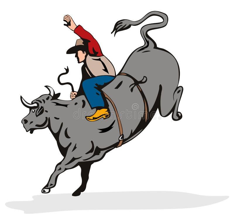 Équitation de taureau de cowboy illustration libre de droits
