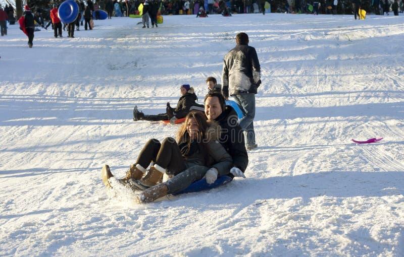 Équitation de traîneau dans le Central Park après tempête Nemo de neige photos libres de droits