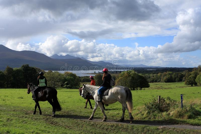 Équitation en parc national de Killarney, comté Kerry, Irlande image libre de droits