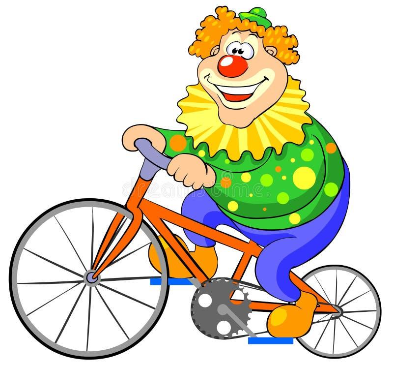 Équitation heureuse de clown sur un vélo. illustration stock