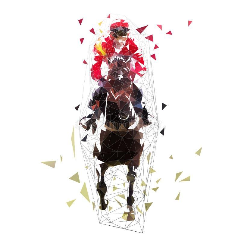 Équitation, illustration polygonale de vecteur Front View illustration stock