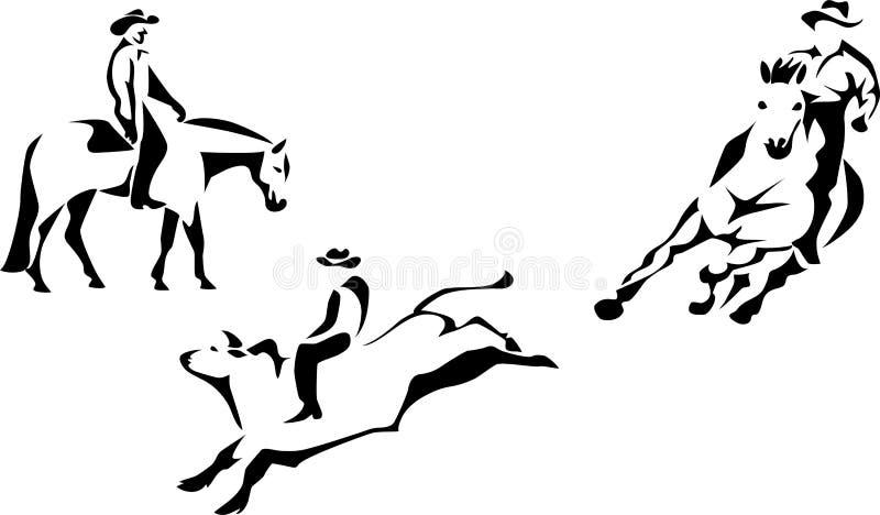 Équitation occidentale illustration de vecteur