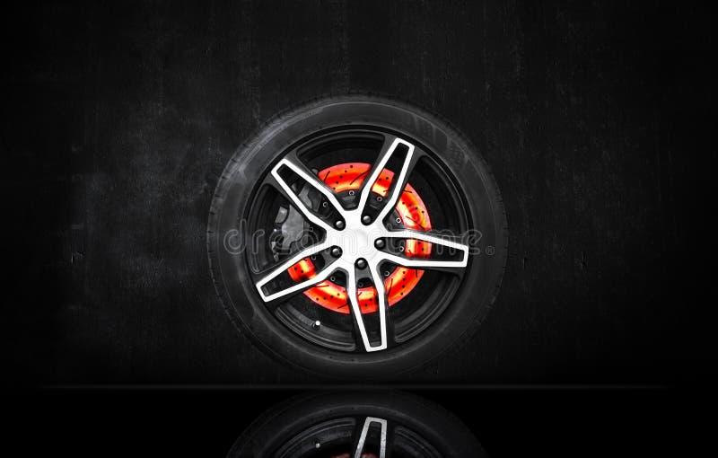 Éraflure de frein à disque brûlant dans une roue de emballage illustration stock