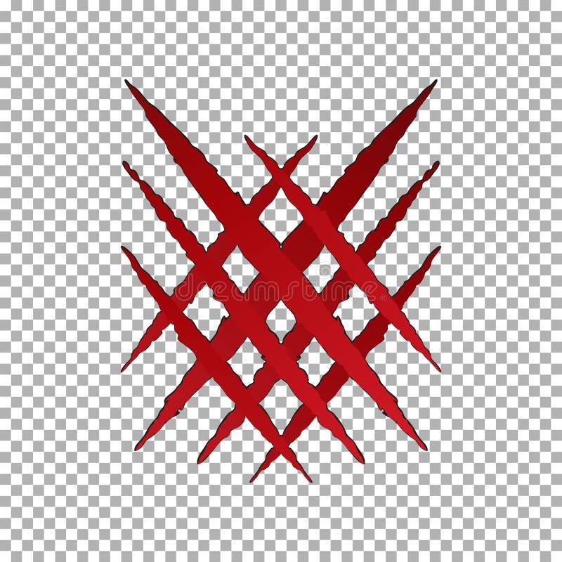 Éraflure de griffe de larme de monstre, marque croisée Papier de coupure de Llion d'isolement sur le fond transparent Cla rouge illustration libre de droits
