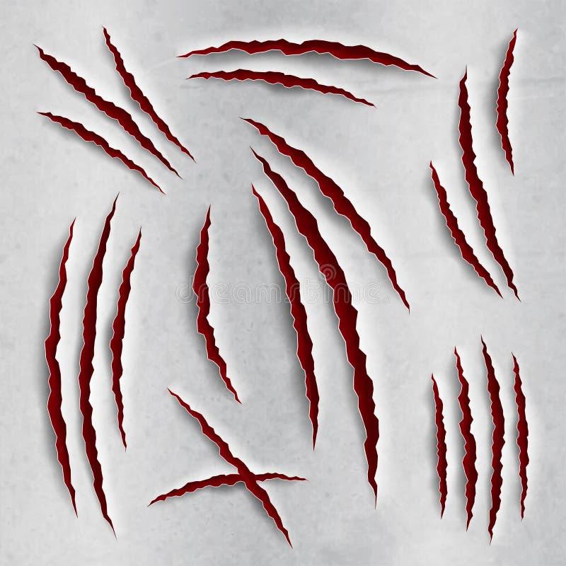 Éraflures de griffe réglées illustration de vecteur