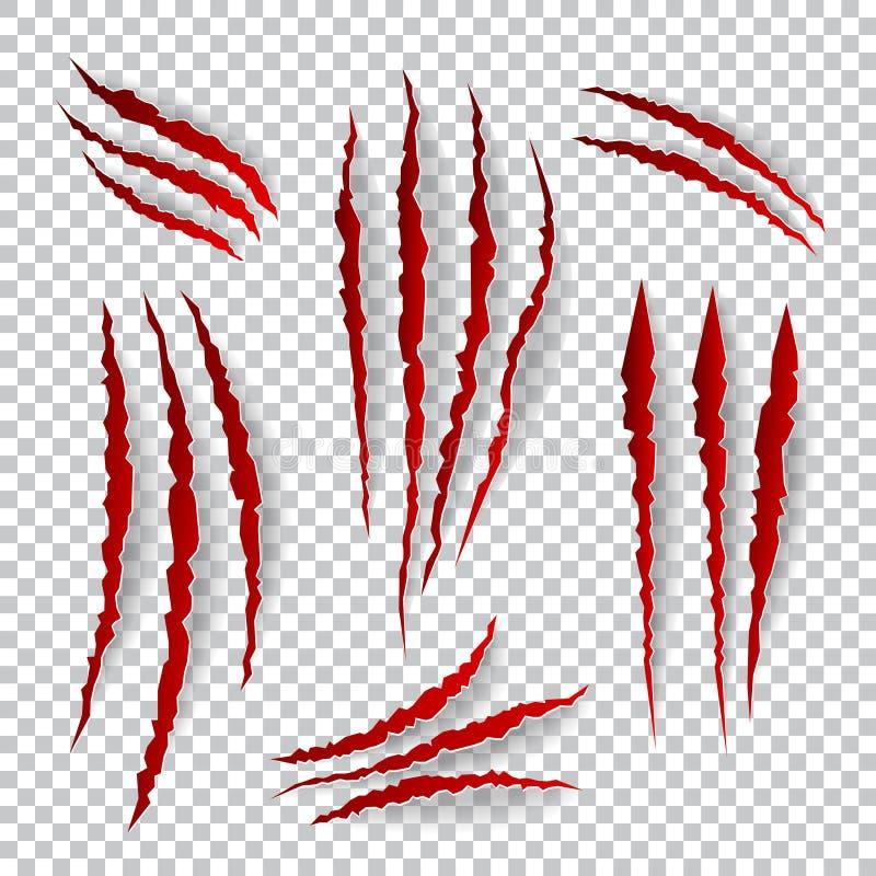 Éraflures réalistes de griffe Vecteur réglé sur le fond de plaid illustration libre de droits