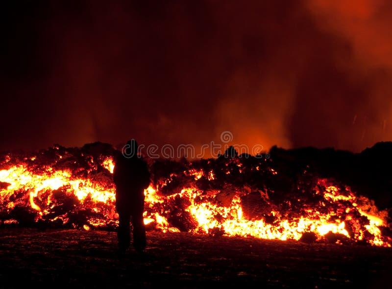 éruption dans Fimmvörðuháls photos stock