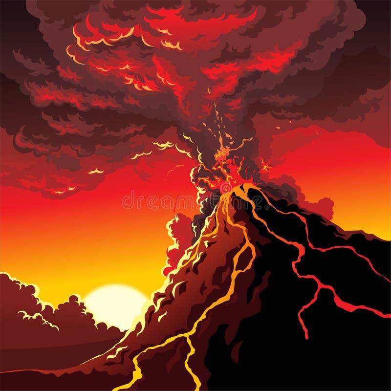 Éruption de volcan illustration de vecteur