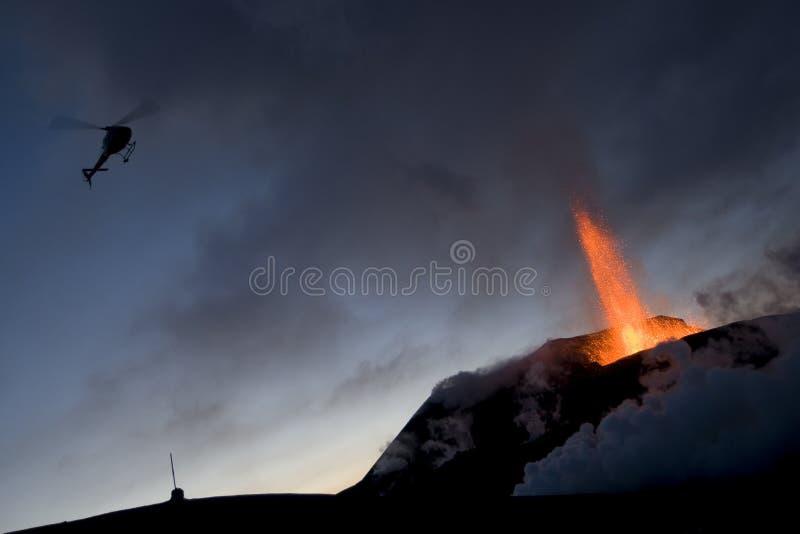 Éruption de volcan, fimmvorduhals Islande photographie stock libre de droits