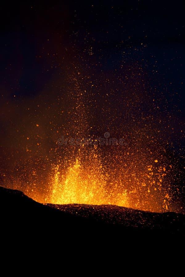 Éruption de volcan, fimmvorduhals Islande images libres de droits