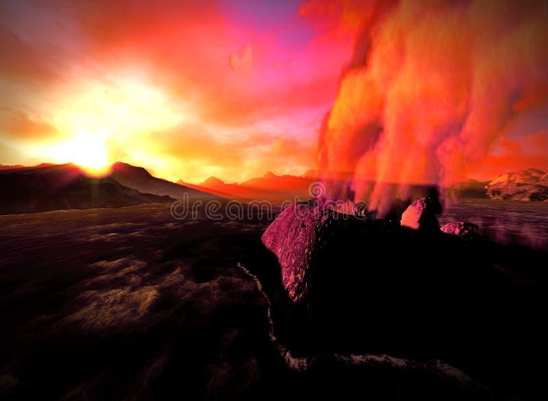 Éruption volcanique sur l'île photos libres de droits