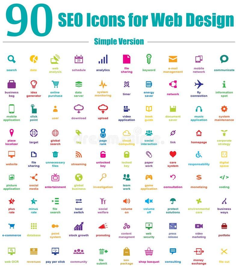 90 iconos de SEO para el diseño web - versión simple del color ilustración del vector