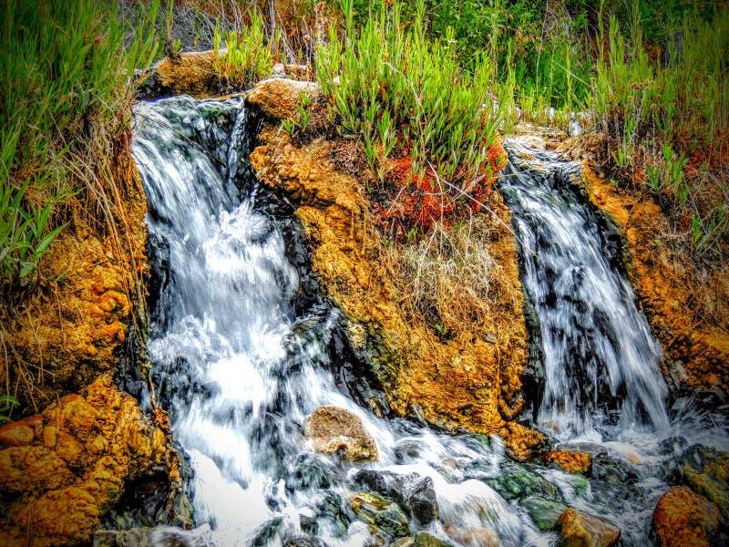 Éste es una de las cascadas de la terraza cerca de Mammoth Hot Springs en Yellowstone foto de archivo libre de regalías
