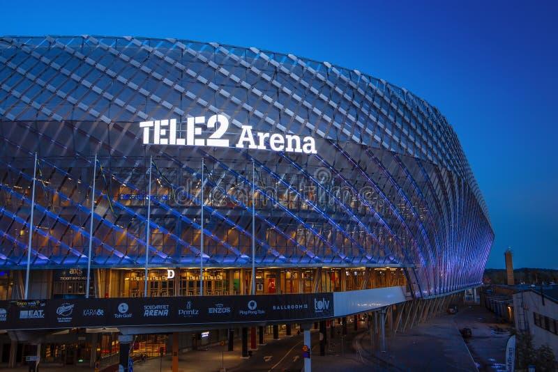 ÉSTOCOLMO, SUÉCIA - 5 de março: Arena Tele2 situada em Johanneshov fotos de stock