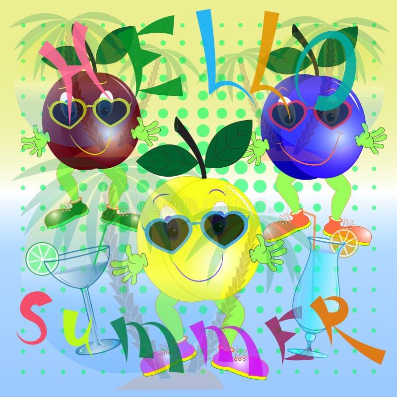 Été d'affiche de bande dessinée de prune bonjour illustration de vecteur