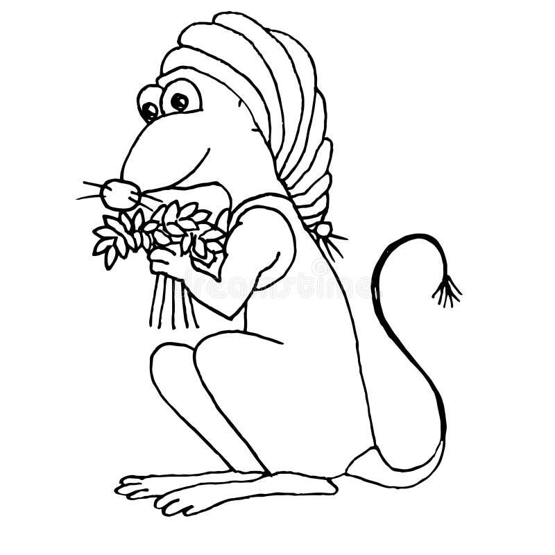 Été de souris Croquis de dessin de main Contour noir sur le fond blanc Illustration de vecteur illustration libre de droits