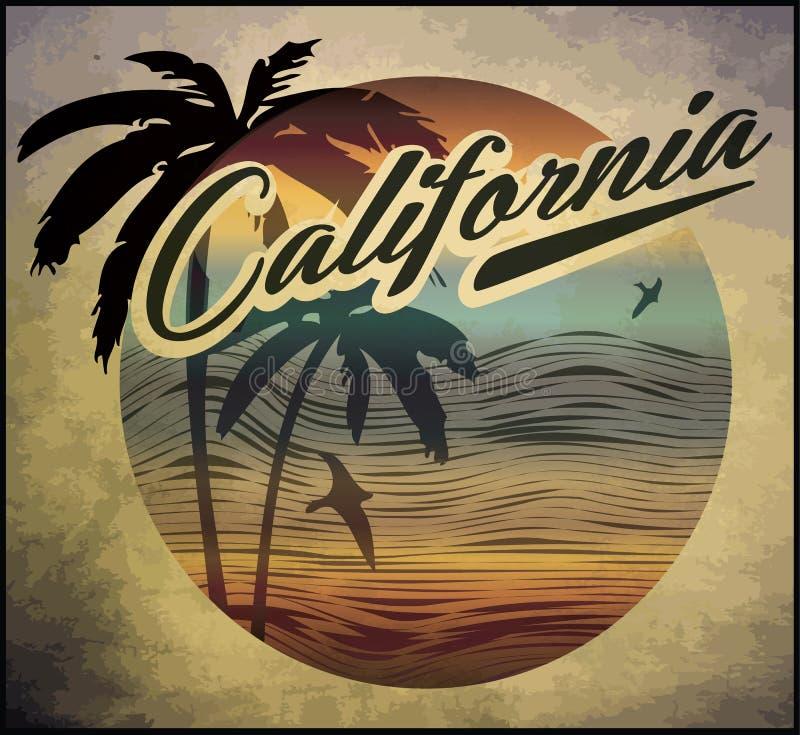 Été de vecteur de concept de club de ressac de plage de la Californie surfant rétro b illustration de vecteur