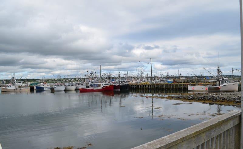 Été en Nova Scotia : Les bateaux de pêche ont attaché en Dennis Point Wharf images libres de droits