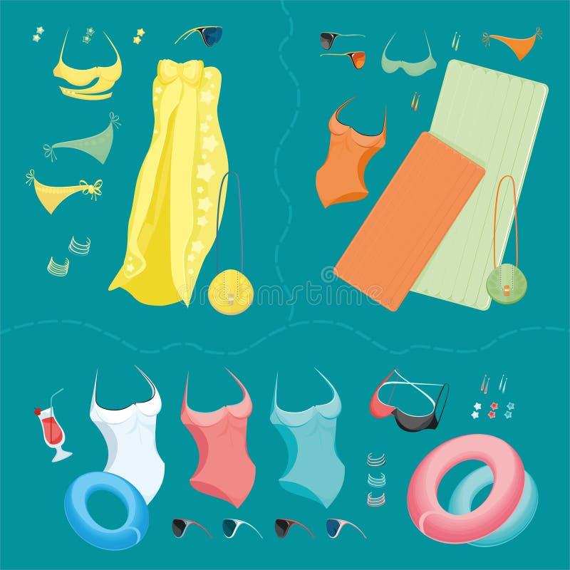 Été et accessoires de plage images stock