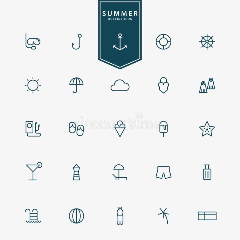 25 été et ligne minimale icônes de vacances illustration stock
