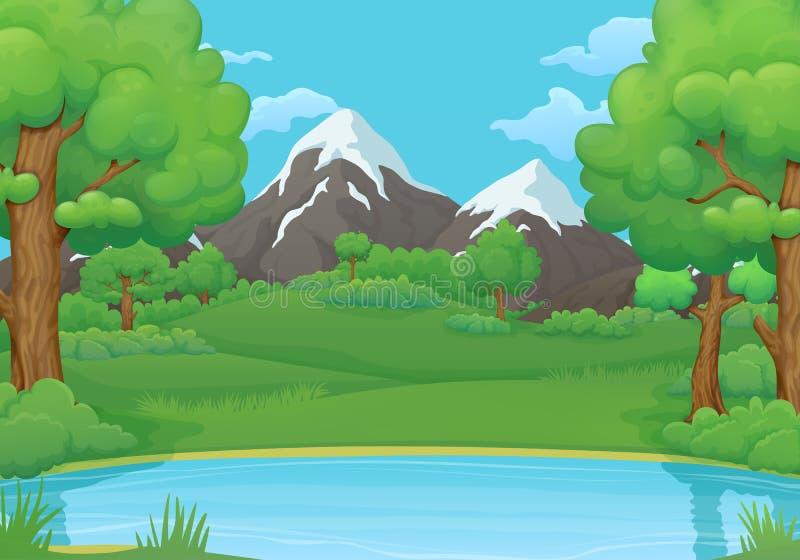 Été, fond de journée de printemps Lac ou rivière avec les arbres verts luxuriants et les montagnes neigeuses illustration de vecteur
