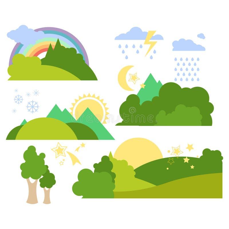 Été Forest Flat Background Vector Set illustration de vecteur