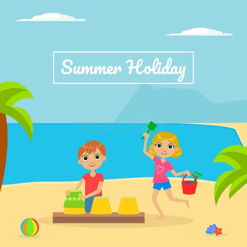 Été Holliday Banner Template avec le garçon mignon et la fille jouant sur l'illustration tropicale de vecteur de plage illustration de vecteur