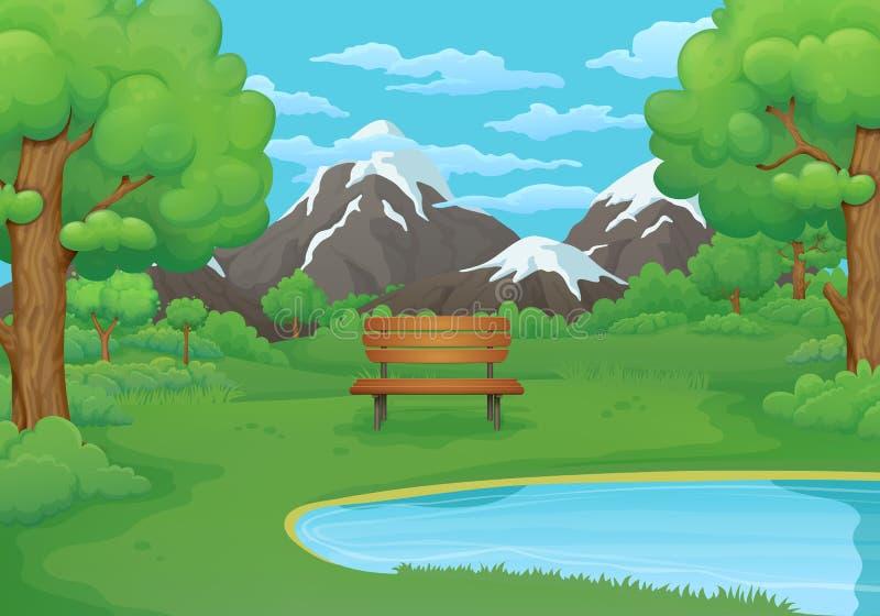 Été, illustration de journée de printemps Banc en bois par le lac avec des montagnes à l'arrière-plan illustration libre de droits