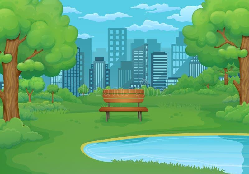 Été, illustration de journée de printemps Banc en bois par le lac avec les buissons et les arbres verts luxuriants paysage urbain illustration libre de droits