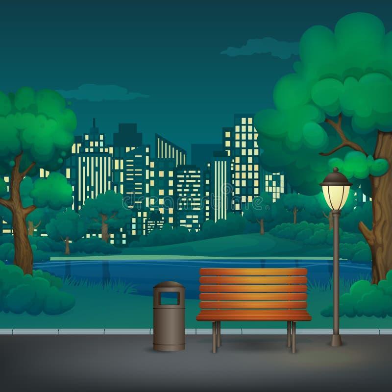 Été, illustration de vecteur de parc de nuit de ressort Banc en bois, poubelle et réverbère sur une traînée de parc avec un lac e illustration libre de droits