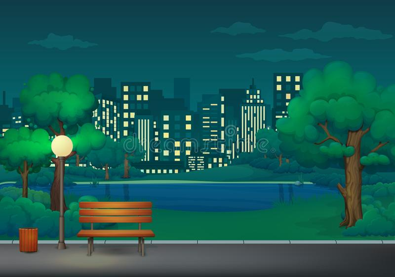 Été, illustration de vecteur de parc de nuit de ressort Banc, poubelle et réverbère sur une traînée de parc avec le lac et le pay illustration de vecteur