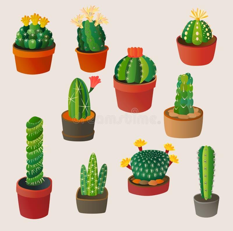 Été mignon de Mexicain d'illustration de vecteur de nature d'usine de maison de cactus de bande dessinée illustration libre de droits