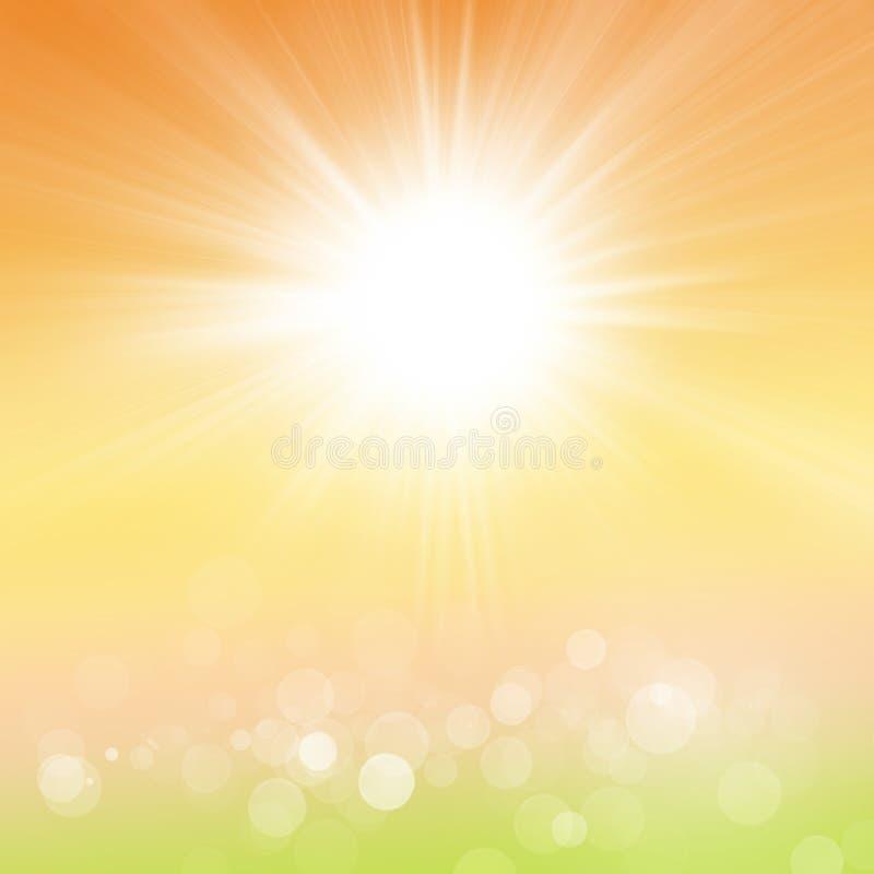 Été ou Autumn Background de ressort de nature de Sun illustration stock