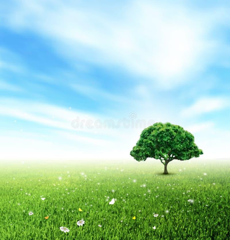 Été, paysage, champ, ciel, arbre, herbe, fleur et Butterfli illustration libre de droits