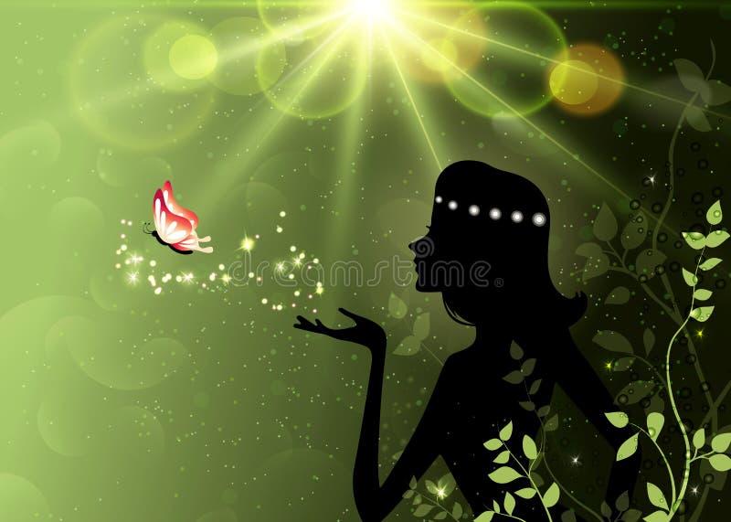Été, ressort, silhouette féerique de forêt, magie, papier peint d'imagination illustration libre de droits