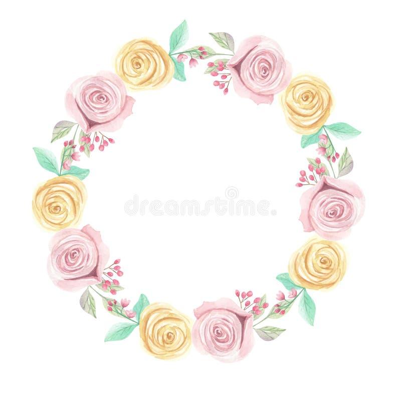 Été rose de ressort de fleurs de baies de roses jaunes d'aquarelle épousant la guirlande florale de guirlande illustration libre de droits