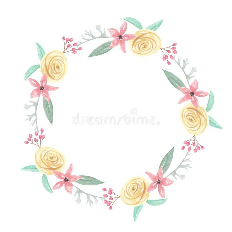 Été rose de ressort de fleurs de baies de roses jaunes d'aquarelle épousant la guirlande florale de guirlande illustration stock
