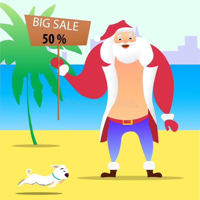 Été Santa Claus sur la plage Personnage de dessin animé mignon de vecteur Calibre de vente de vente de Noël en juillet illustration libre de droits