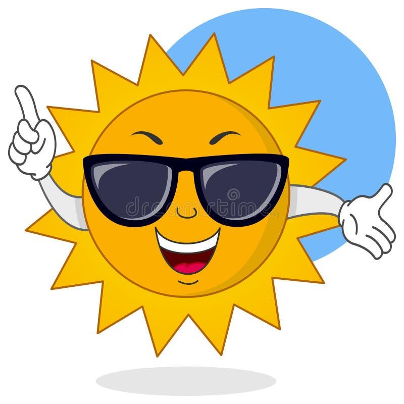 Été Sun de bande dessinée avec des lunettes de soleil illustration stock