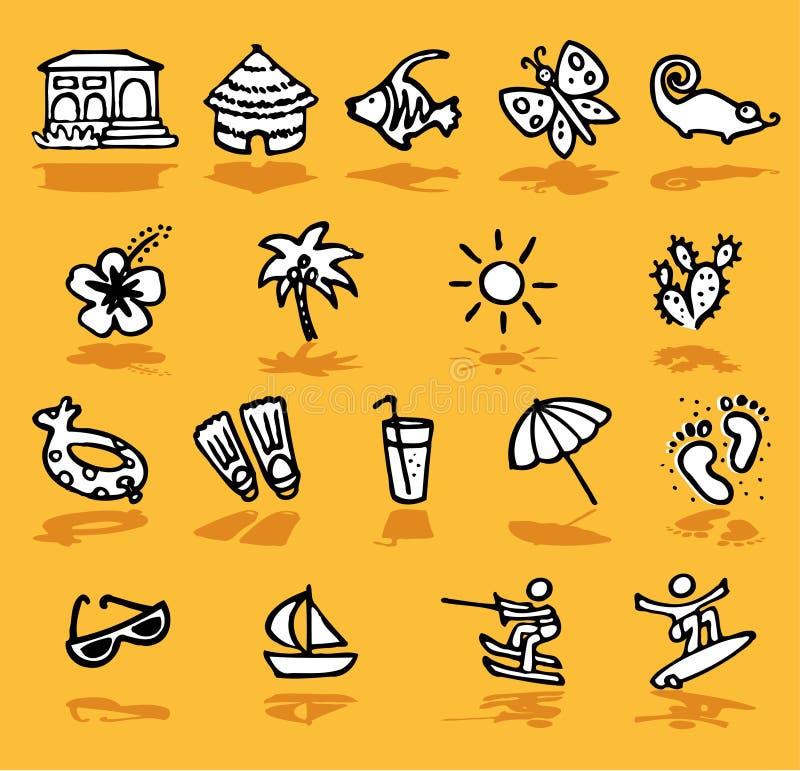 Été, vacances, graphismes du soleil réglés illustration stock