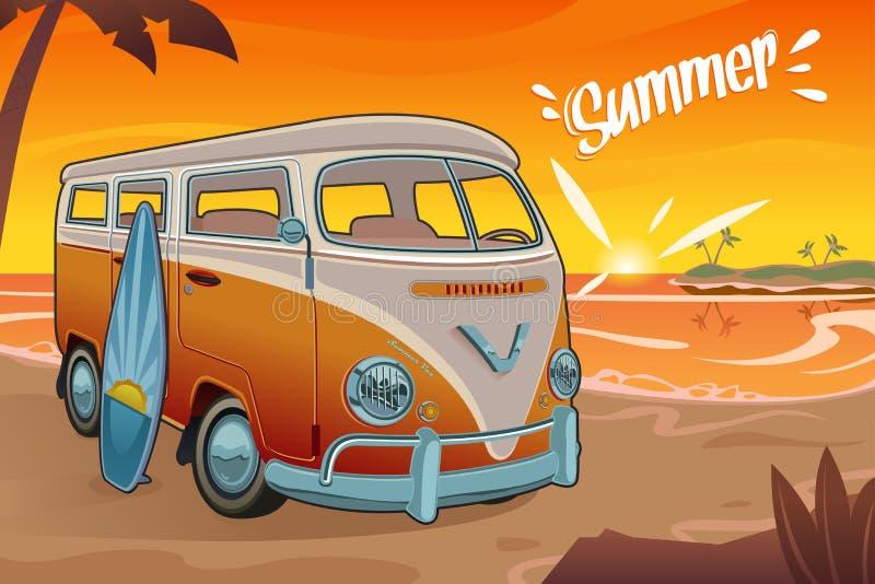 Été Van sur la plage illustration de vecteur