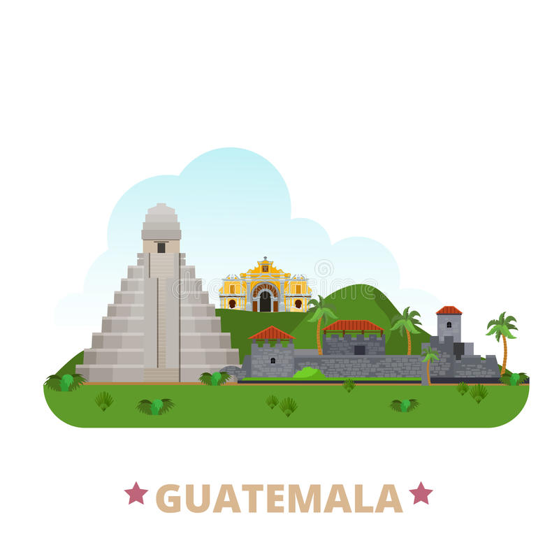 Étable plate de bande dessinée de calibre de conception de pays du Guatemala illustration de vecteur